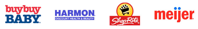 four store icons: buybuy Baby, Harmon discount health and beauty, ShopRite, and meijer