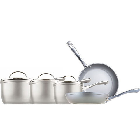 Prestige Prism Induction Aluminium Saucepan and Frypan, Silver, Set of 5
