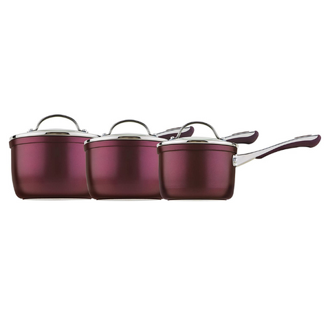 Prestige Prism Induction Aluminium Saucepan, Purple, 14 cm, 16 cm and 18 cm , Set of 3