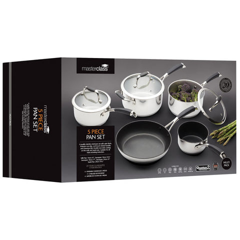MasterClass 5 Piece Stainless Steel Pan Set