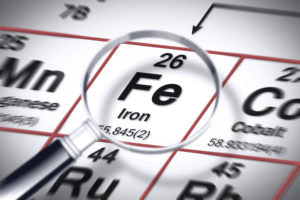 Fe-chemical-element-table-magnifying-glass-iron-anemia-deficiency-hair-loss