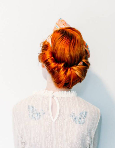 faux chignon red hair scarf back favorite holiday hairstyles toppik hair blog