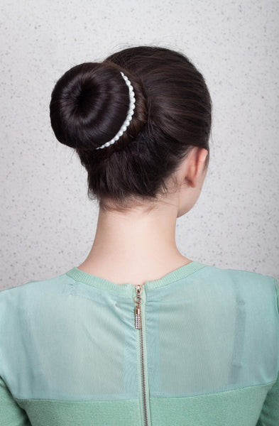 bling pearl bun topknot back brunette hair favorite holiday hairstyles