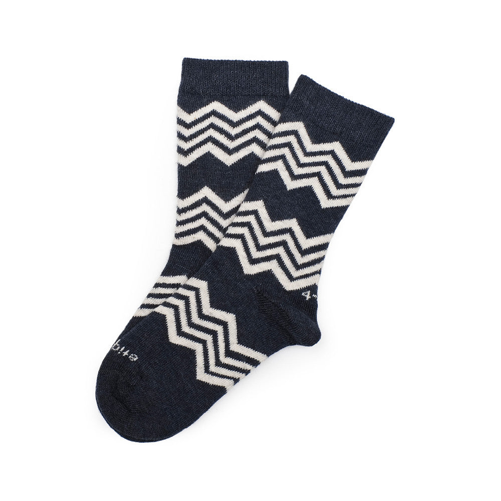 Alpine Stripes - Vintage Blue Heather - Kids Socks - Etiquette - Etiquette Clothiers NA