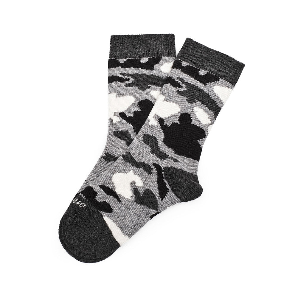 Camouflage - Grey Heather - Kids Socks - Etiquette - Etiquette Clothiers NA