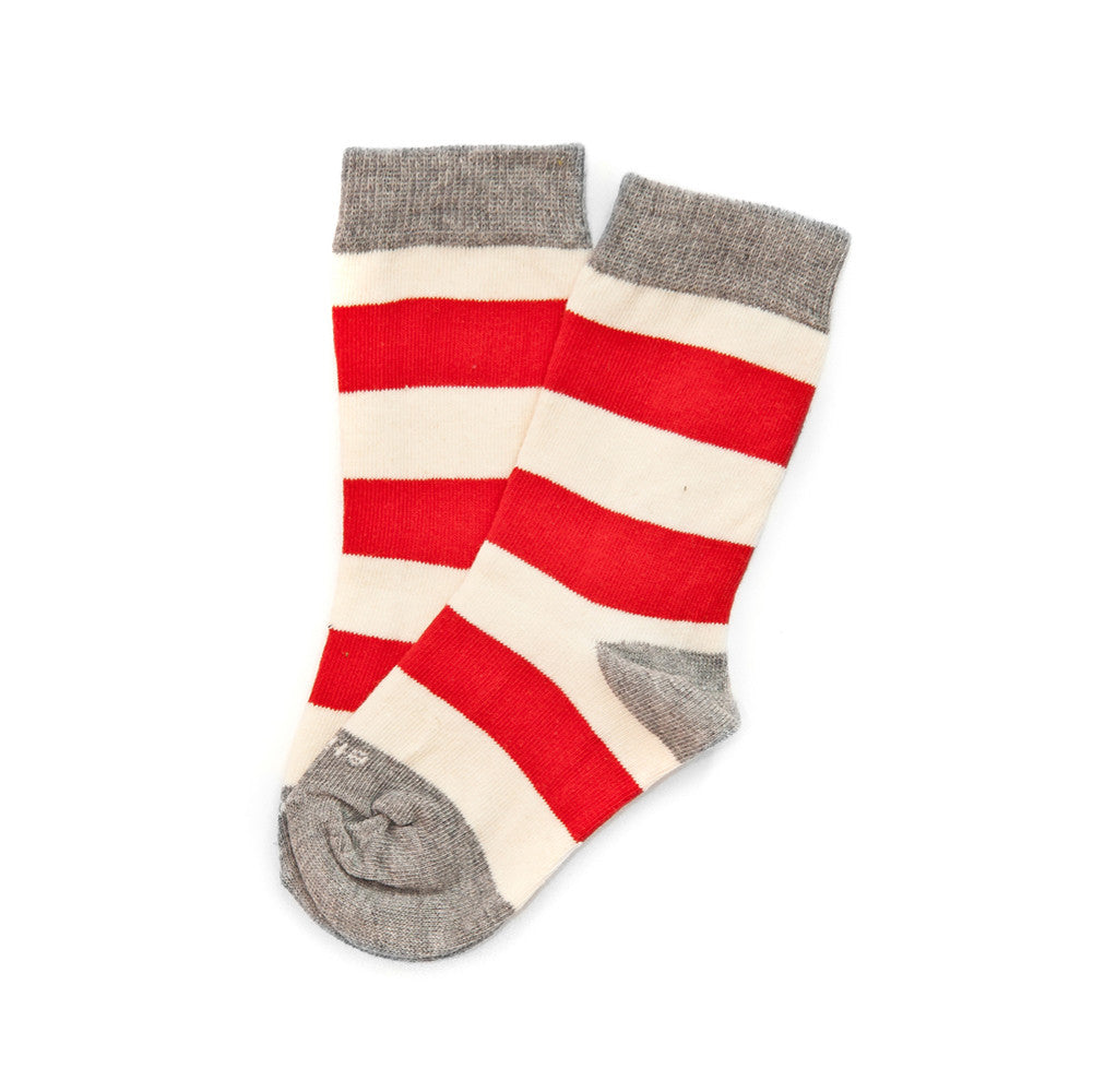 Rugby Stripe - Fire Red - Kids Socks - Etiquette - Etiquette Clothiers NA