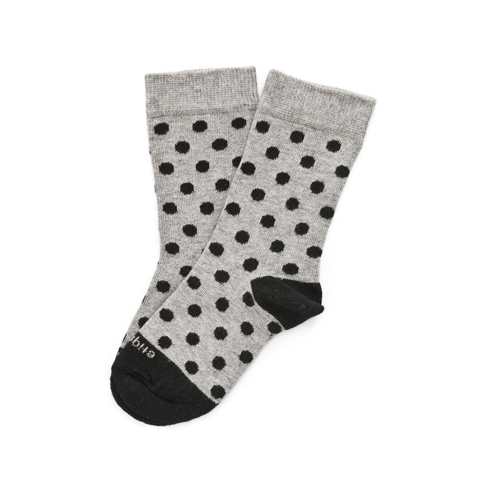 Polka Spots - Ash Grey Heather - Kids Socks - Etiquette - Etiquette Clothiers NA