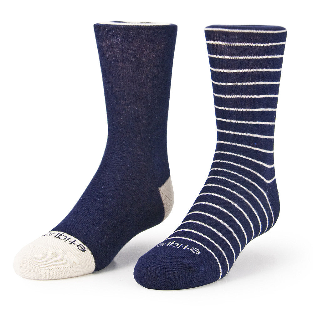 Needle Stripes 2 Pack - Estate Blue - Kids Socks - Etiquette - Etiquette Clothiers NA