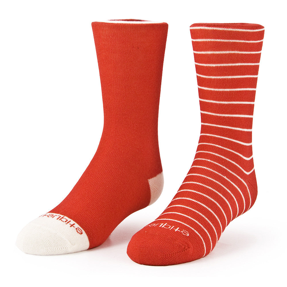 Needle Stripes 2 Pack - Fire Red - Kids Socks - Etiquette - Etiquette Clothiers NA