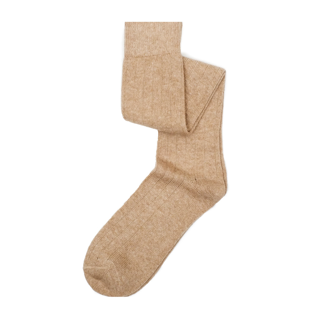 Cashmere Knee High Ribbed - Sand Brown Heather
