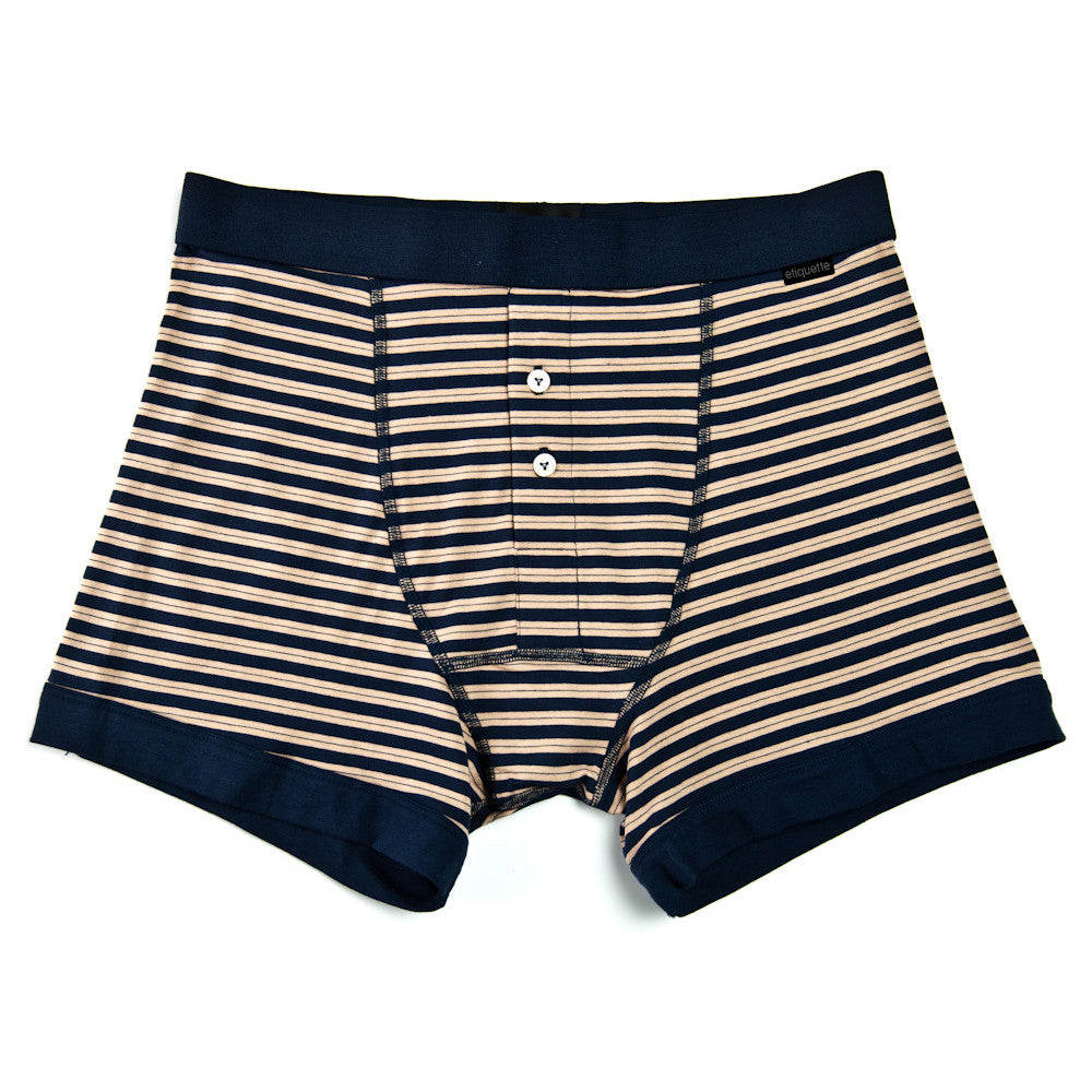 Supima Trunk Duo Stripe - Navy Brown - Underwear - EtiquetteSale - Etiquette Clothiers NA