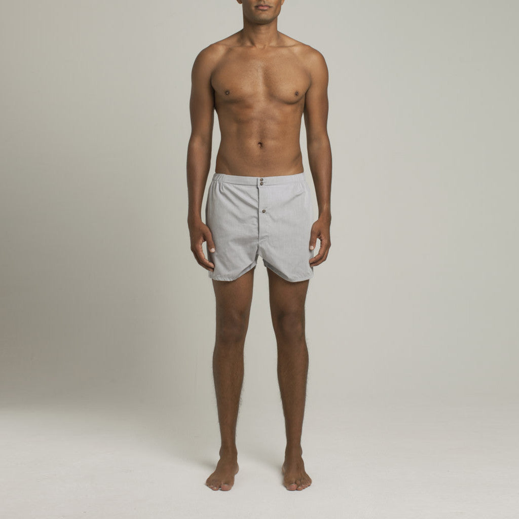 Luxury Boxer Shorts - Frost Grey Chambray