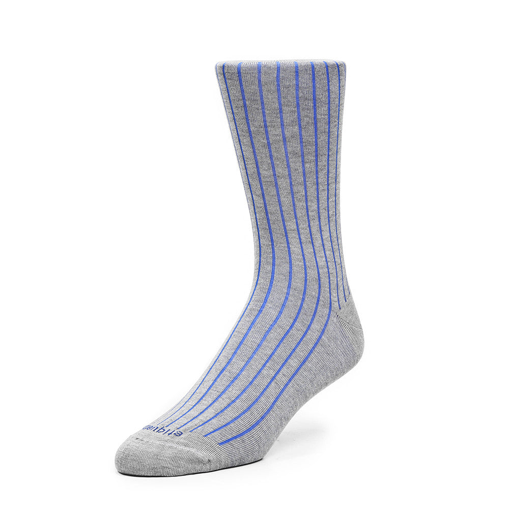 Royal Rib - Heather Grey and Royal Blue - Socks - Etiquette - Etiquette Clothiers NA