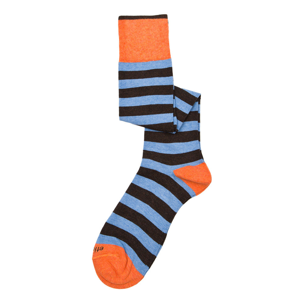 Rugby Stripes Knee High - Estate Blue - Socks - EtiquetteSale - Etiquette Clothiers NA