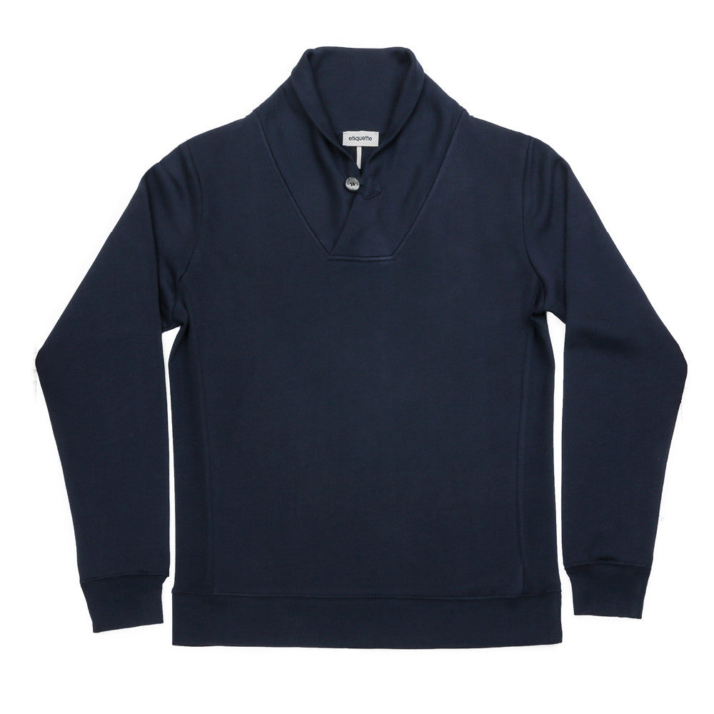 Hudson Loop Terry Shawl Sweater - Navy - Loungewear - Etiquette - Etiquette Clothiers NA