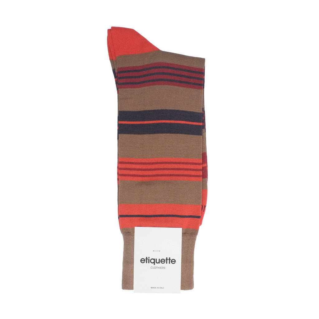 Amsterdam Stripes - Brown - Socks - Etiquette - Etiquette Clothiers NA