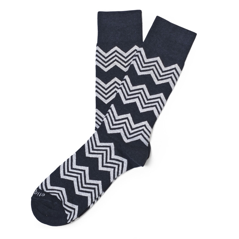Alpine Stripes - Blue Heather - Socks - Etiquette - Etiquette Clothiers NA