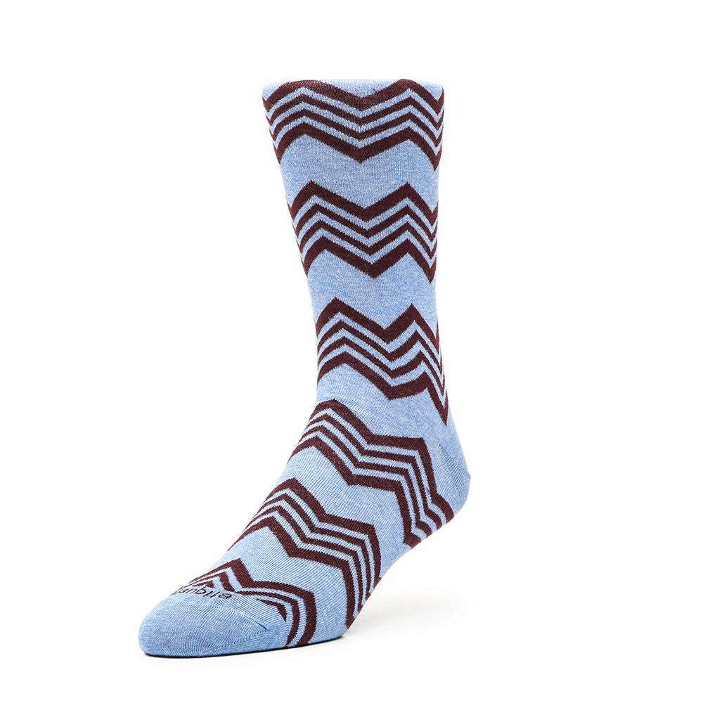Alpine Stripes - Everest Blue - Socks - EtiquetteSale - Etiquette Clothiers NA