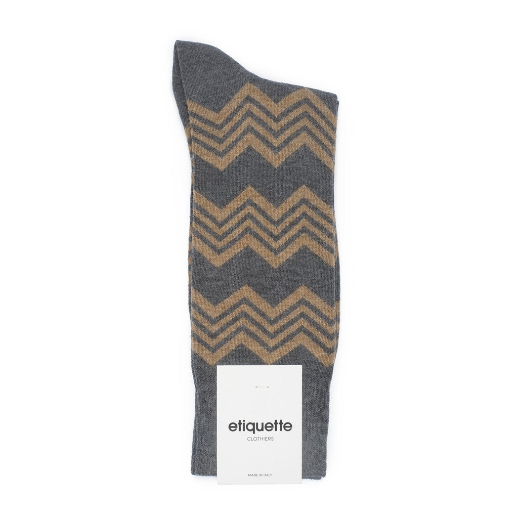 Alpine Stripes - Dark Grey Heather - Socks - Etiquette - Etiquette Clothiers NA