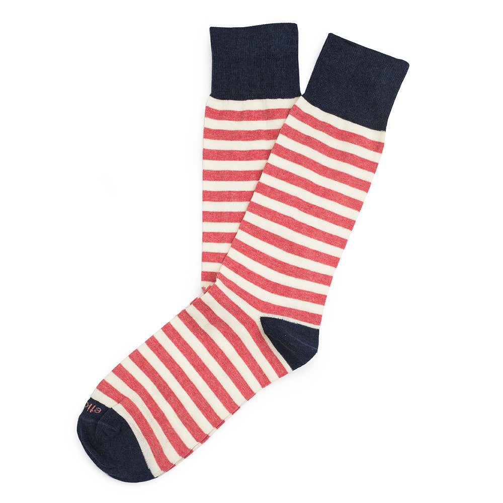 Abbey Stripes - Coral - Socks - EtiquetteSale - Etiquette Clothiers NA