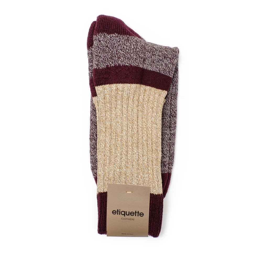 Get The Boot Duo Socks - Bordeaux - Socks - Etiquette - Etiquette Clothiers NA