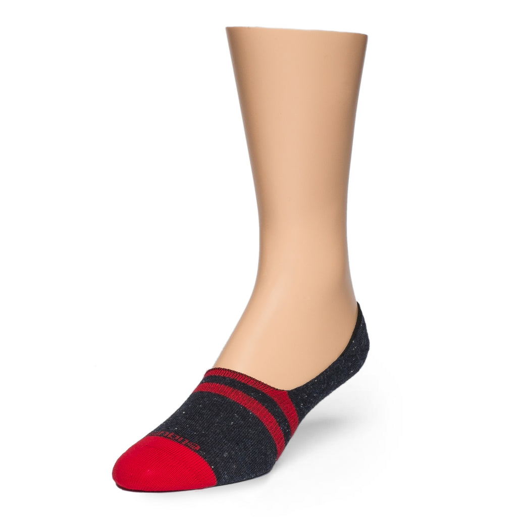 No Show Socks Nope Stripes - Navy / Red
