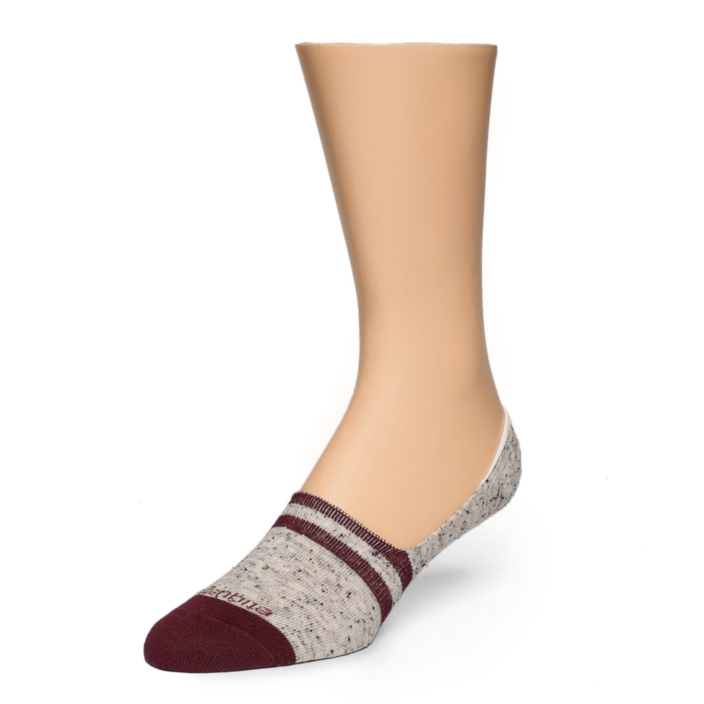 No Show Socks Nope Stripes - Grey / Bordeaux - Socks - Etiquette - Etiquette Clothiers NA