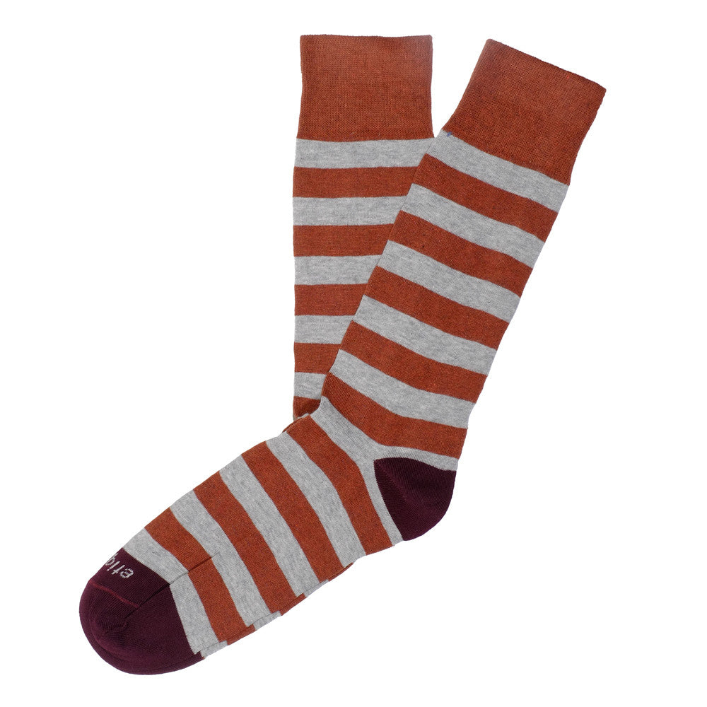 Rugby Stripes - Rust - Socks - Etiquette - Etiquette Clothiers NA