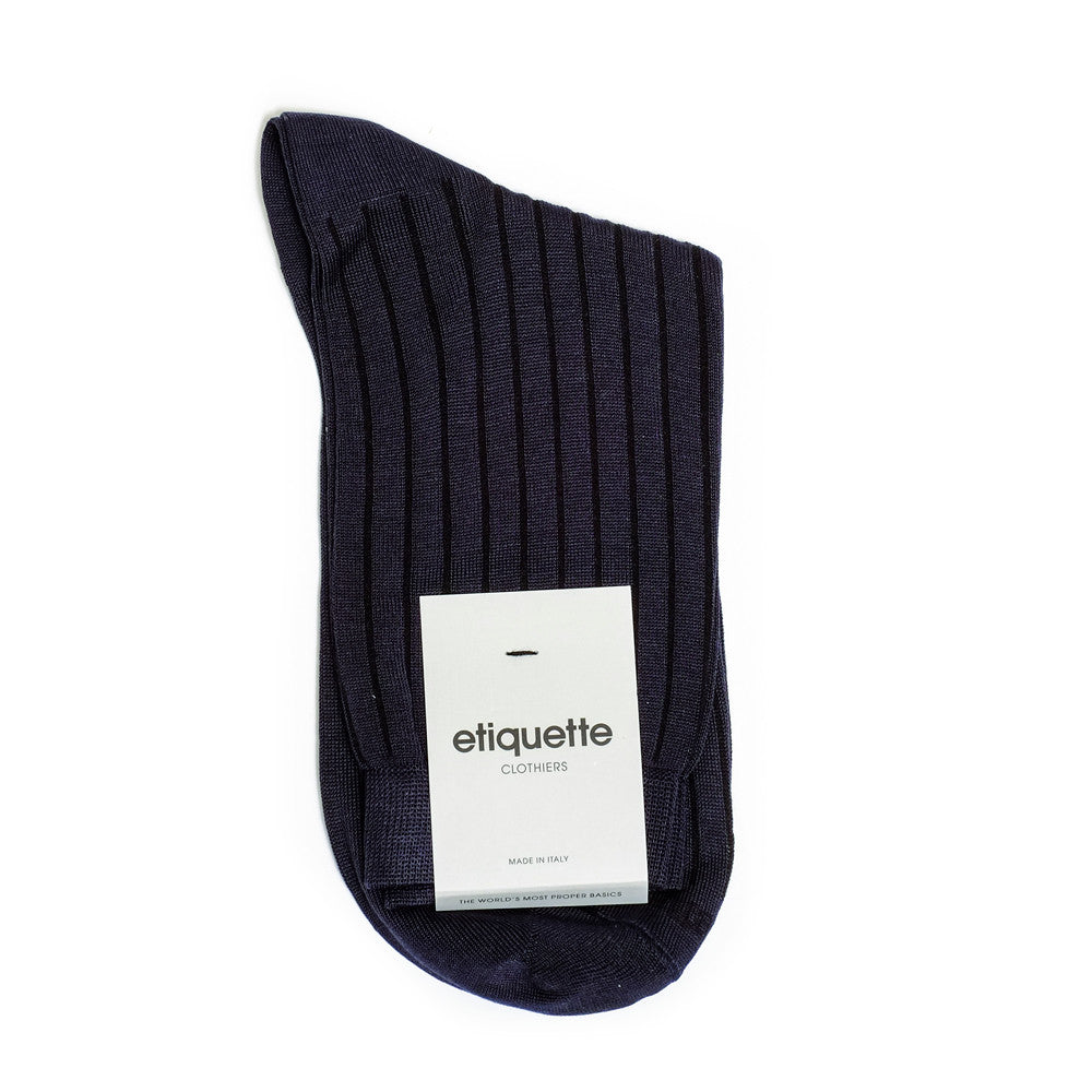 Royal Rib - Mood Indigo Blue - Socks - Etiquette - Etiquette Clothiers NA