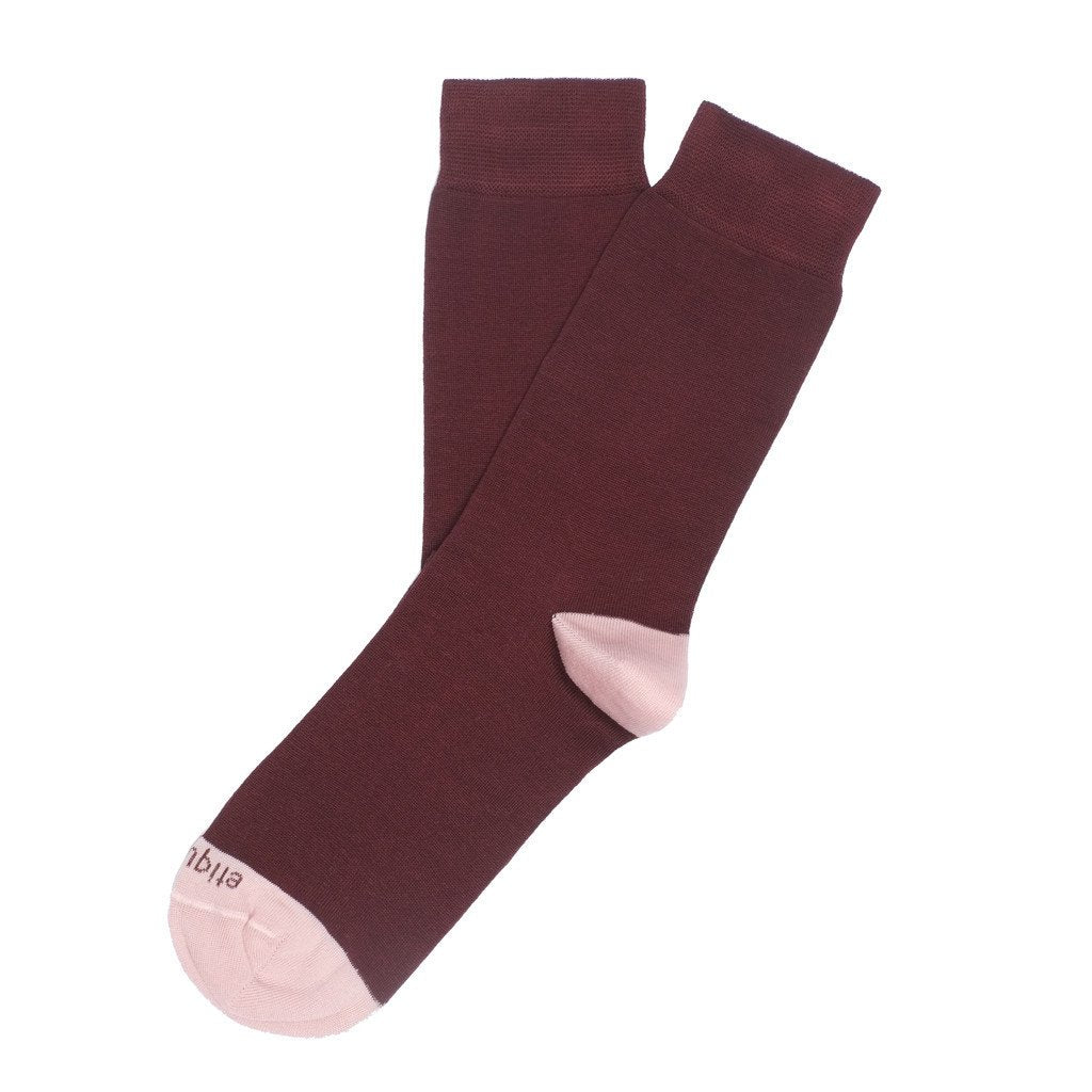 Duo Pops - Bordeaux / Rose - Socks - Etiquette - Etiquette Clothiers NA