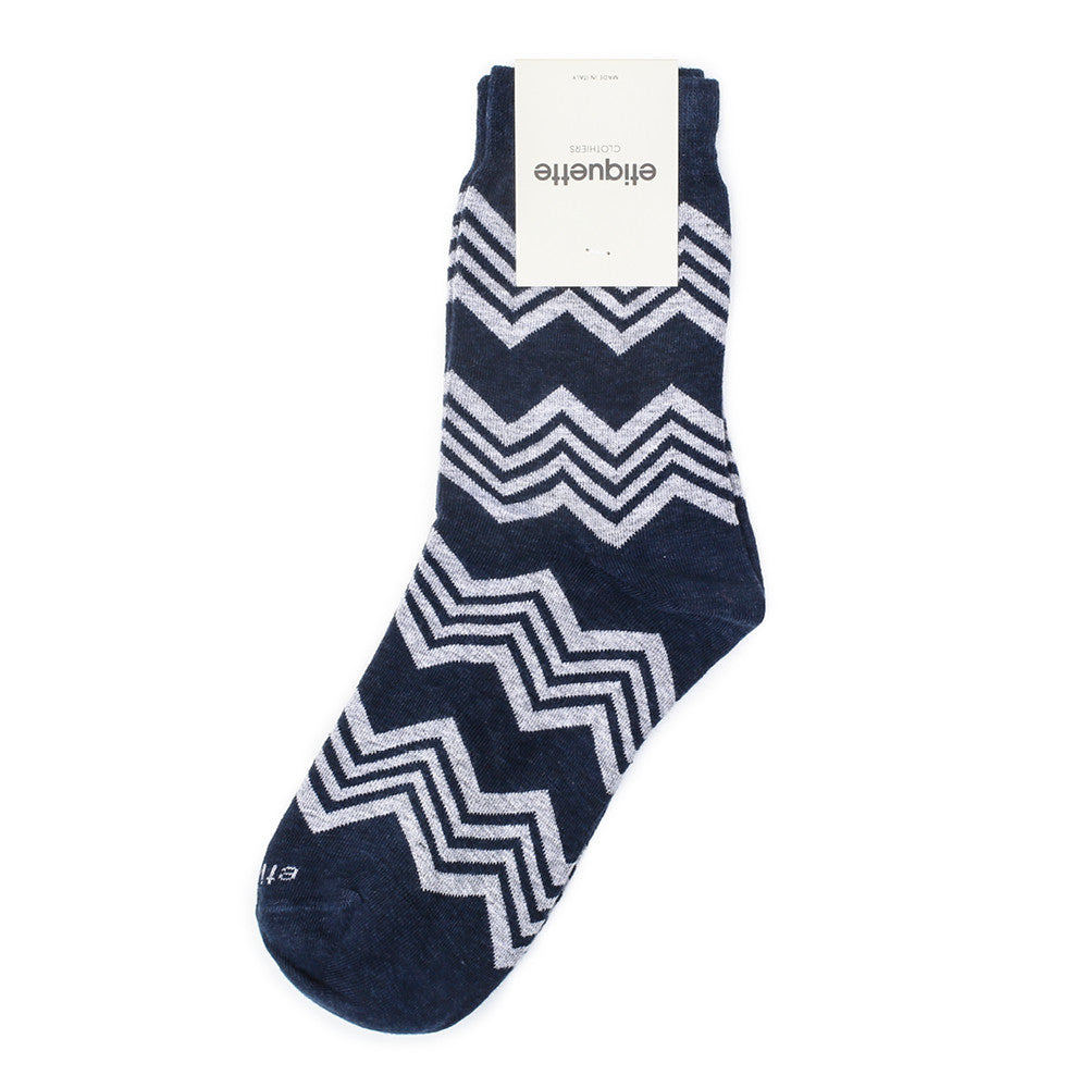 Alpine Stripes - Vintage Blue Heather - Socks - EtiquetteSale - Etiquette Clothiers NA
