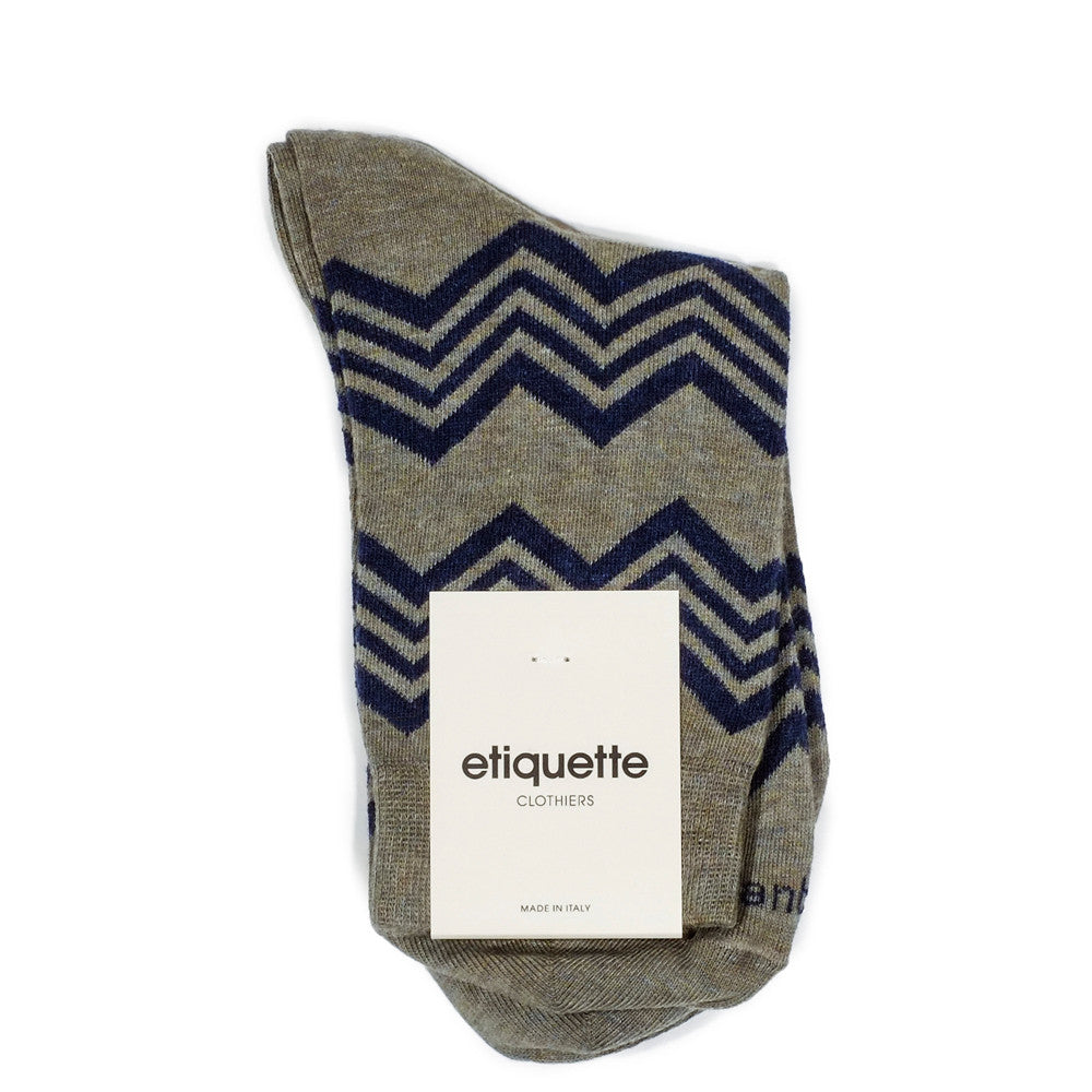 Alpine Stripes - Vintage Green Heather - Socks - EtiquetteSale - Etiquette Clothiers NA
