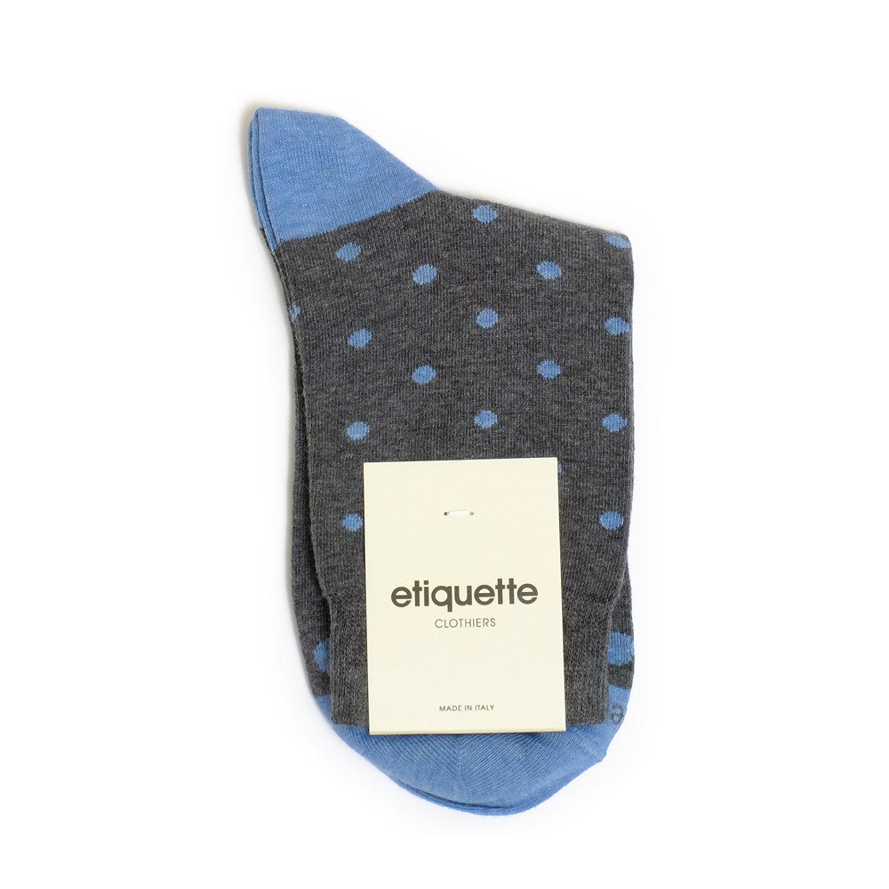 Mini Polka - Dark Blue Heather - Socks - EtiquetteSale - Etiquette Clothiers NA