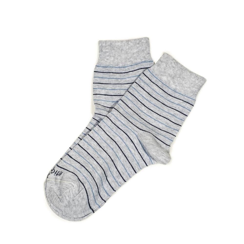Needle Stripes - Heather Grey - Socks - EtiquetteSale - Etiquette Clothiers NA