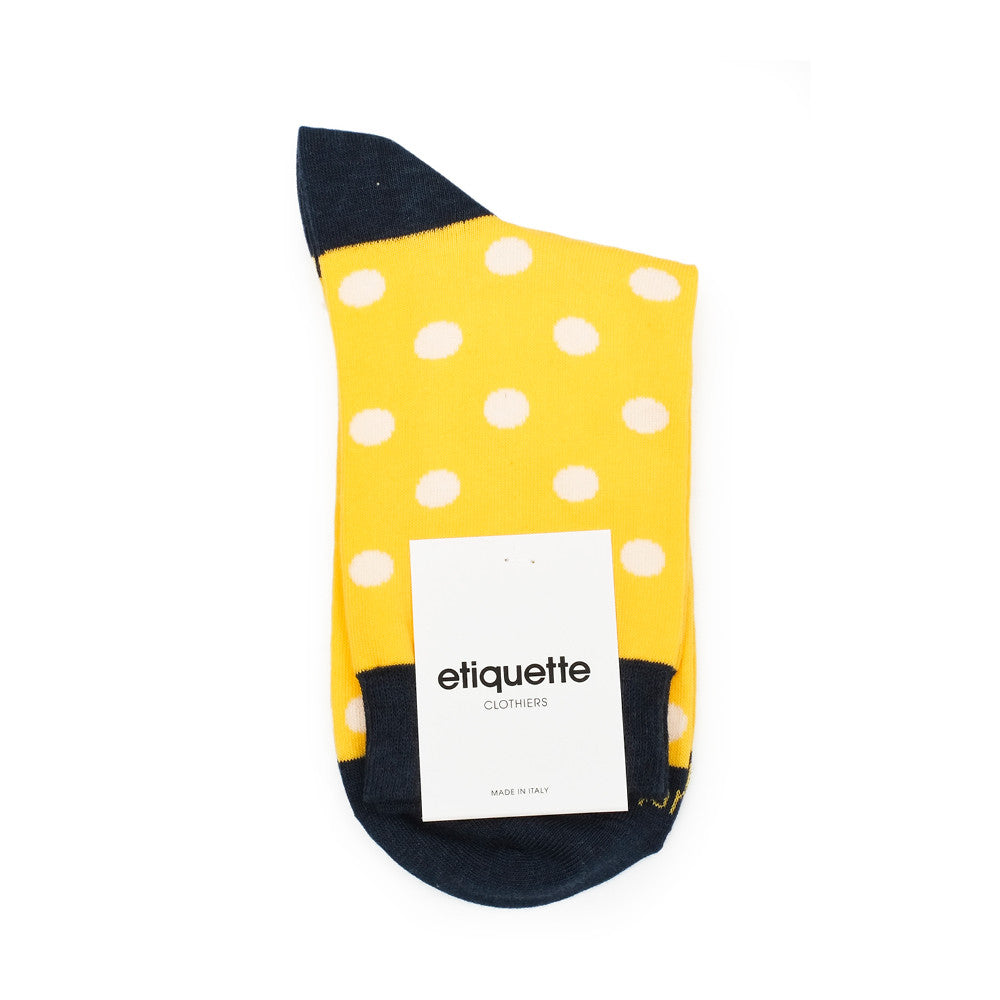 Polka Dots - Empire Yellow - Socks - EtiquetteSale - Etiquette Clothiers NA