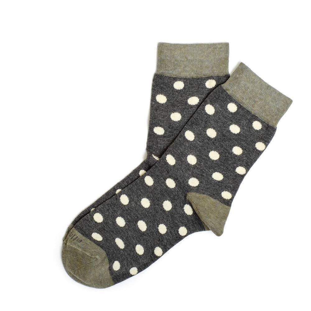 Polka Dots - Dark Grey Heather - Socks - EtiquetteSale - Etiquette Clothiers NA