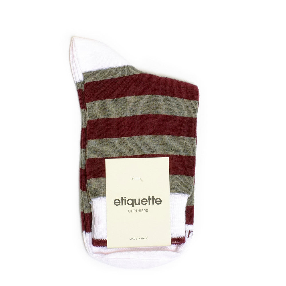 Rugby Stripes - Bordeaux / Olive Green - Socks - EtiquetteSale - Etiquette Clothiers NA
