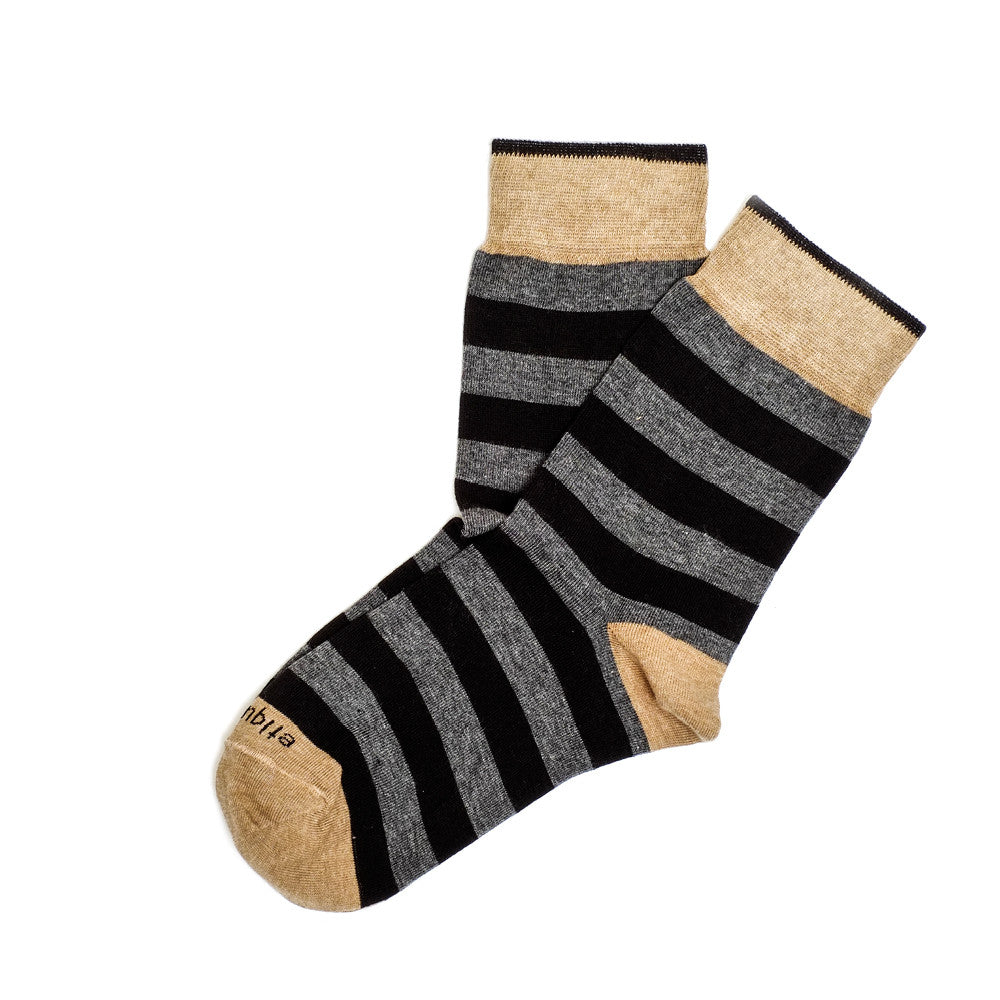Rugby Stripes - Dark Grey Heather - Socks - Etiquette - Etiquette Clothiers NA