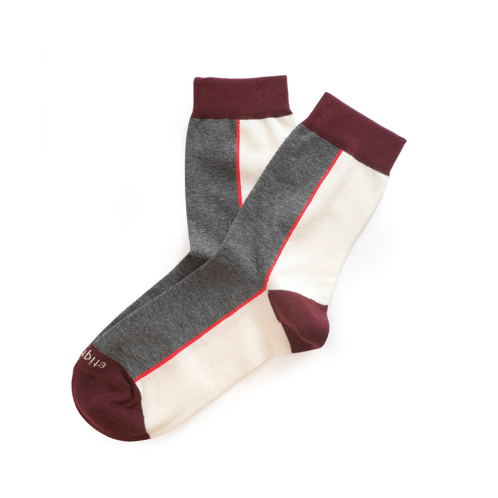 Two Faced - Dark Grey Heather / Ecru / Bordeaux - Socks - Etiquette - Etiquette Clothiers NA