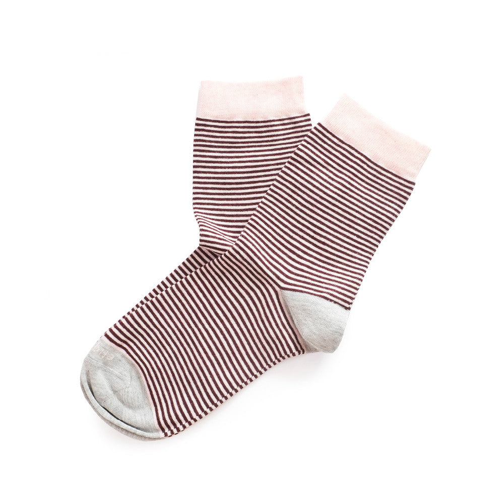 Thousand Stripes - Bordeaux - Socks - Etiquette - Etiquette Clothiers NA