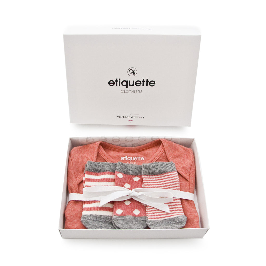 Onesie & Socks - Heather Red - Baby Socks - EtiquetteSale - Etiquette Clothiers NA