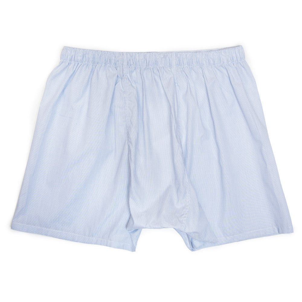 Luxury Boxer Shorts - Fine Check Arctic Blue
