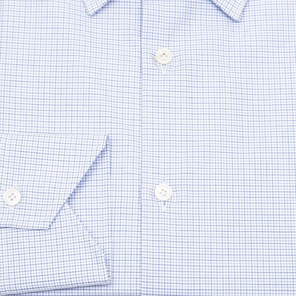Worth Spread Collar Mini Graph Checks Shirt - Blue - Shirts - Etiquette - Etiquette Clothiers NA