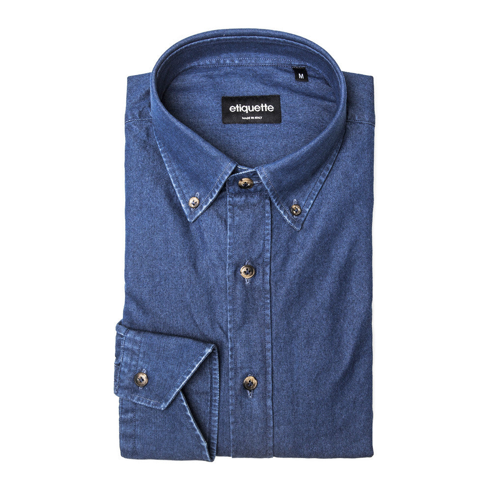 Franklin Button Down Denim Shirt - Indigo - Shirts - EtiquetteSale - Etiquette Clothiers NA