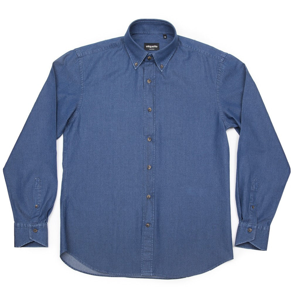 Franklin Button Down Denim Shirt - Indigo - Shirts - Etiquette - Etiquette Clothiers NA