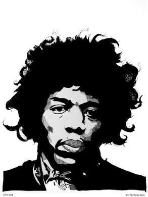 Jimi Hendrix Portrait Art Print Poster by Becky Mann (OTW0058) - On the Wall Art Print Posters & Gifts