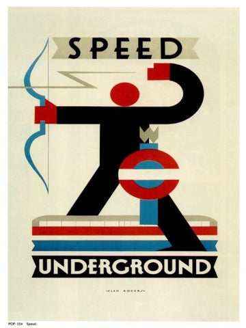 Speed, Deco London Underground Vintage Railway Poster Art Print 40x30cm PDP 054 - On the Wall Art Print Posters & Gifts