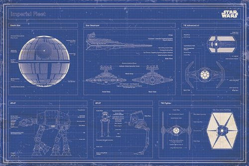 Star Wars - Imperial fleet blueprint - On the Wall Art Print Posters & Gifts