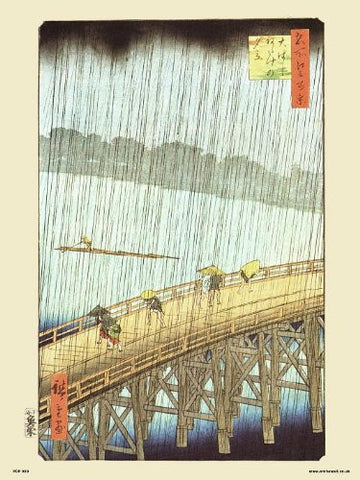 Hiroshige Japanese Sudden Shower over Shin - Ohashi Bridge and atake Poster Art Print (PDP 50) - On the Wall Art Print Posters & Gifts