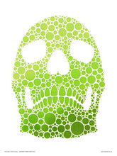 Load image into Gallery viewer, Pop Art Poster Print - Green Sugar Skull Stencil by Simon Heathcote (OTW030) - On the Wall Art Print Posters & Gifts